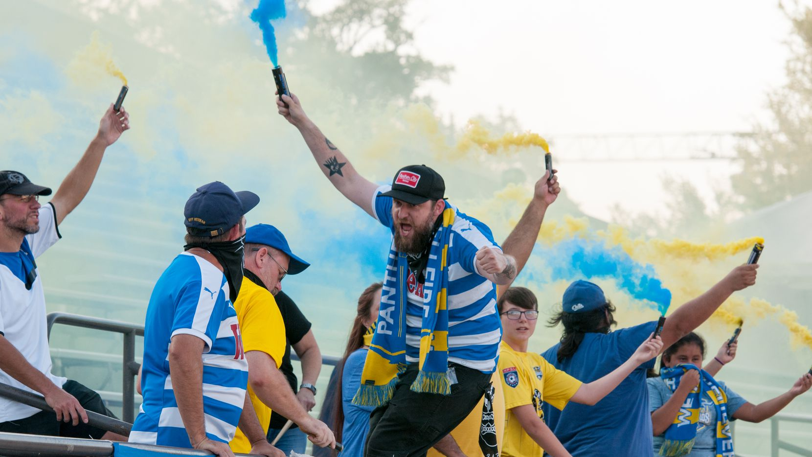 Vaqueros' supporters club Panther City Hellfire in action.