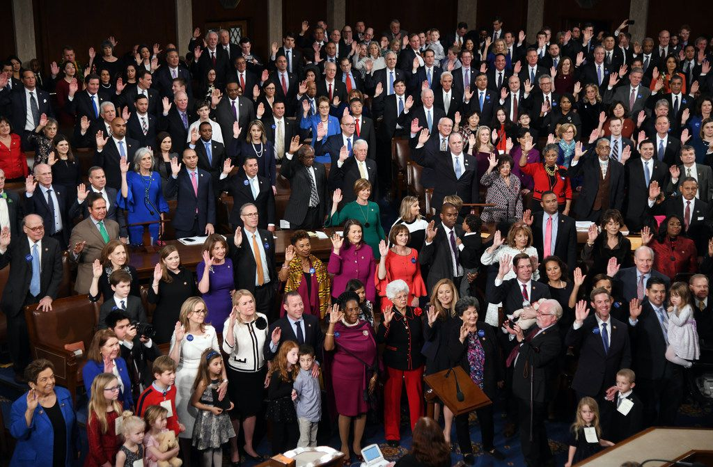 Members of the House are sworn in by Speaker of the House Nancy Pelosi during the 116th Congress and swearing-in ceremony on the floor of the U.S. House of Representatives at the U.S. Capitol on Jan. 3, 2019, in Washington, D.C.