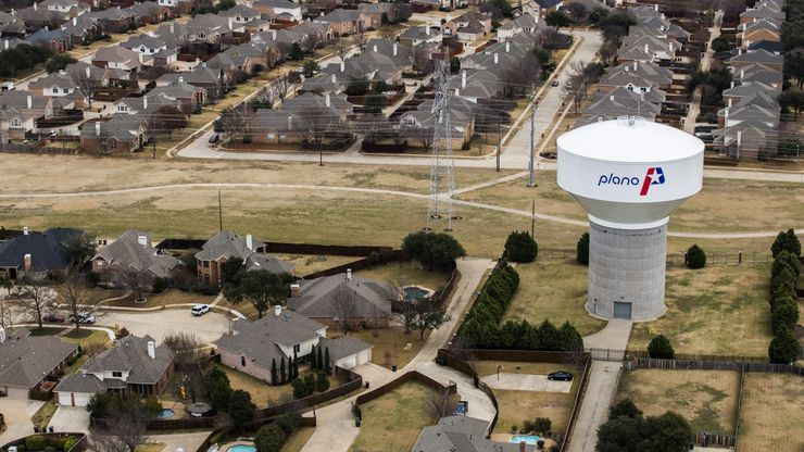A water tower near High Mesa Drive, as viewed from a helicopter on Wednesday, January 4, 2017 in Plano, Texas.