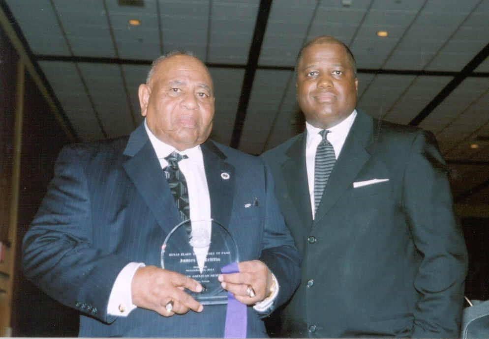 James Griffin, left, was inducted in the Texas Black Sports Hall of Fame. He is pictured with Roger B. Brown of KKDA, one of the presenters at the Hall of Fame banquet.