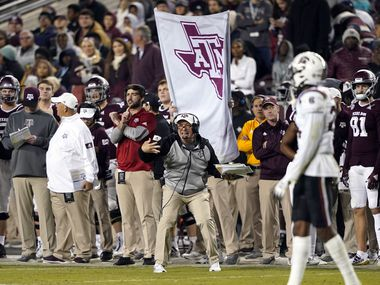 Texas A&M coach Jimbo Fisher yells to his players during the second half of an NCAA college football game against South Carolina Saturday, Nov. 16, 2019, in College Station, Texas.