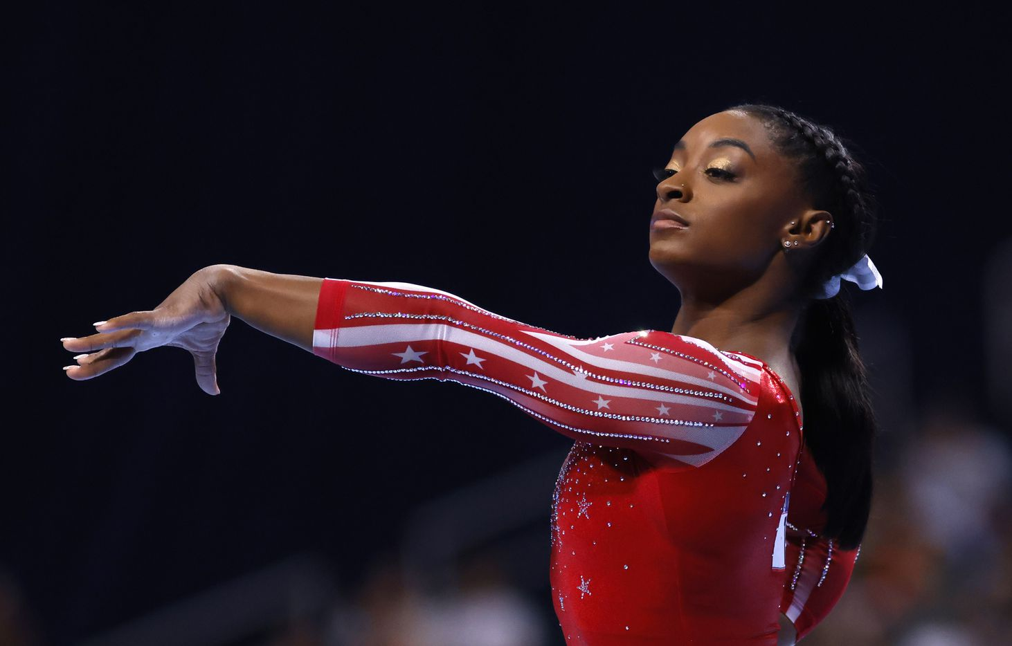 Simone Biles during her floor routine during day 2 of the women's 2021 U.S. Olympic Trials at The Dome at America's Center on Saturday, June 27, 2021 in St Louis, Missouri.(Vernon Bryant/The Dallas Morning News)