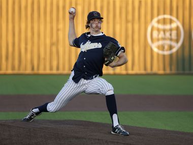 Keller's Eric Hammond (27) pitches against Southlake during a Class District 4-6A baseball game in Souhtlake, Texas on March 19, 2021.