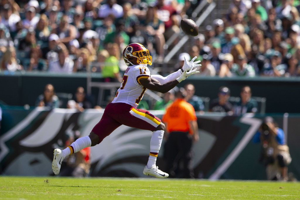 PHILADELPHIA, PA - SEPTEMBER 08: Terry McLaurin #17 of the Washington Redskins catches a touchdown pass in the second quarter against the Philadelphia Eagles at Lincoln Financial Field on September 8, 2019 in Philadelphia, Pennsylvania.