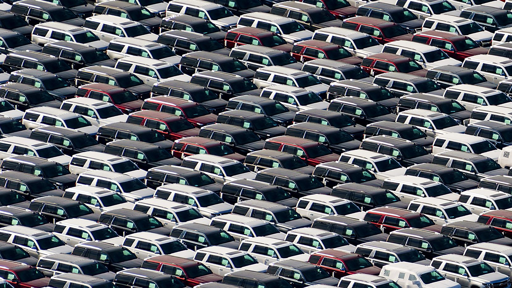 Aerial view of new SUVs on a lot near the General Motors Assembly Plant on Sunday, Jan. 12, 2020, in Arlington, Texas.