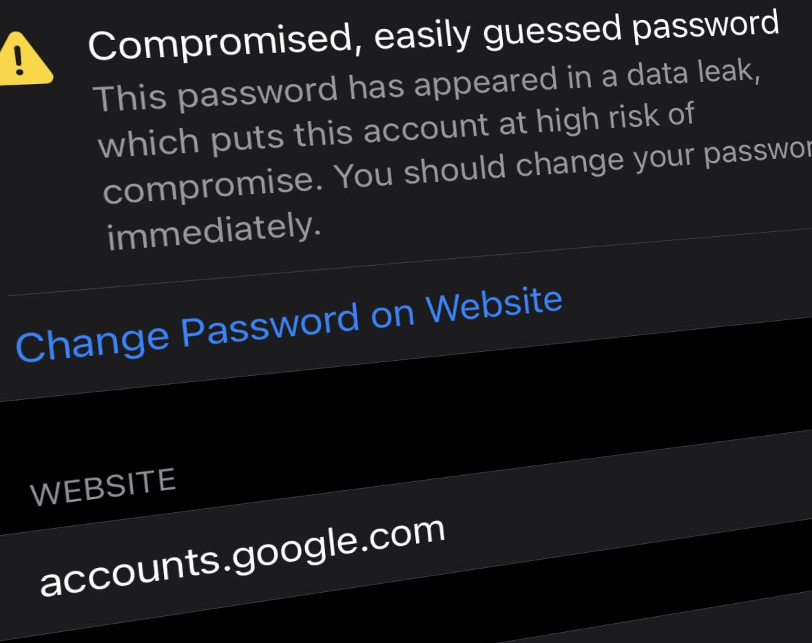 A notification of a compromised password from iOS 14.