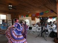 Members of the Anita N. Martinez Ballet Folklorico perform several dances at the reveal party for the concept design of future Floral Farms Park the evening of October 21, 2021 in south Dallas.