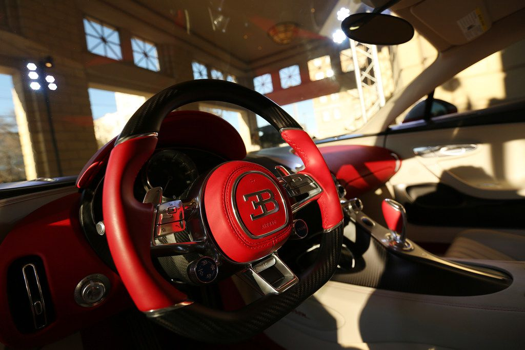 The interior of a Bugatti Chiron during an event put on by Park Place commemorating the first delivery of a Bugatti Chiron to Texas at the Residences at The Stonleigh in Dallas Friday January 12, 2018. The Chiron is owned by Mayur Shree, who was gifted the car by his father, considers himself a gear-head. The car is capable of traveling over 260 miles per hour and has ten radiators, quad turbos and is valued at $3.2 million. (Andy Jacobsohn/The Dallas Morning News)
