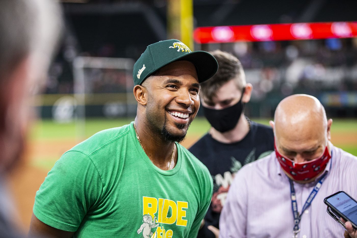 Oakland Athletics shortstop Elvis Andrus speaks to the media before a game against the Texas Rangers in Arlington, Monday, June 21, 2021. (Brandon Wade/Special Contributor)