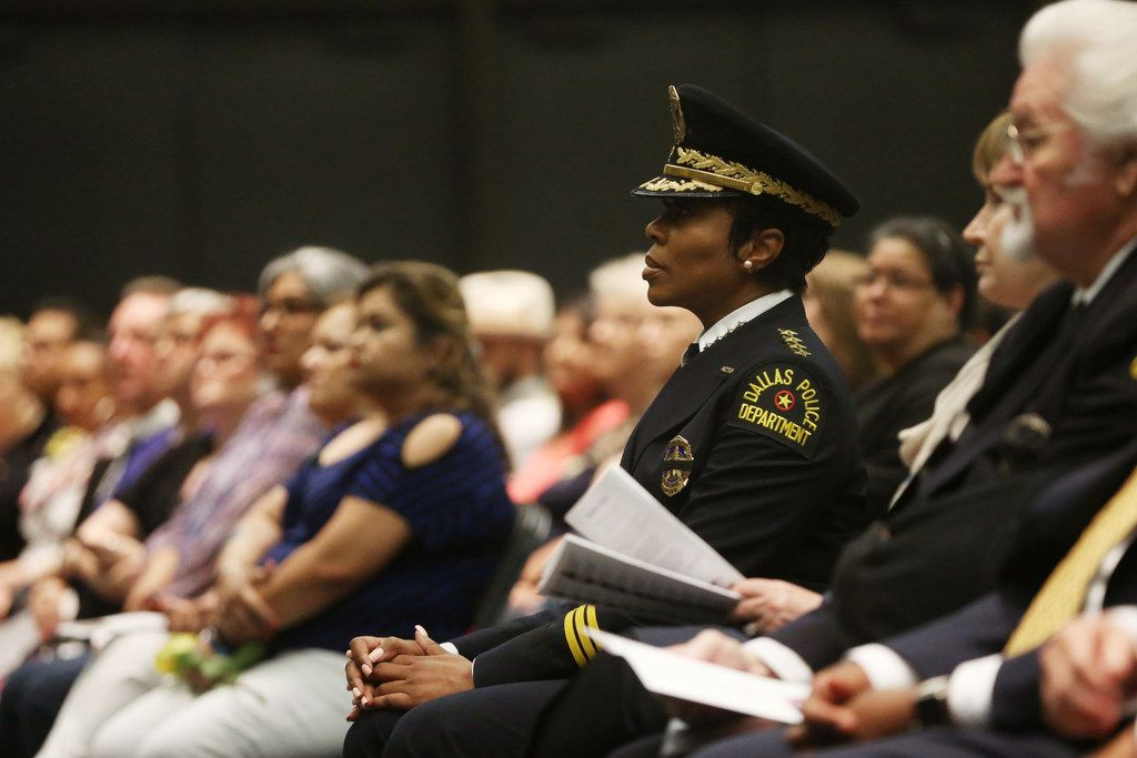 Dallas Police Chief U. Renee Hall sits during the Dallas Police memorial service, honoring officers who lost their lives in the line of duty, at the Kay Bailey Hutchison Convention Center in Dallas on Wednesday, May 8, 2019.