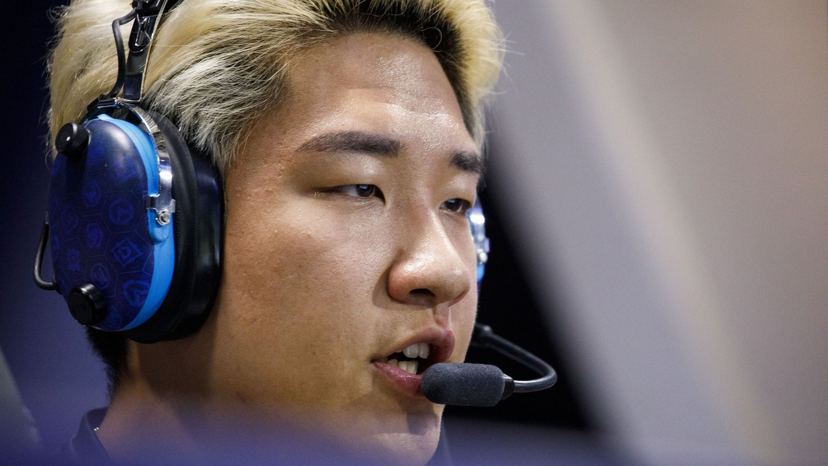 "Minseok Son - ""Oge"" during the Overwatch League match between the Dallas Fuel and LA Gladiators on Friday, August 9, 2019 at Blizzard Arena in Burbank, CA. (Photo by Patrick T. Fallon/Special Contributor to The Dallas Morning News)"