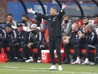 FC Dallas head coach Luchi Gonzalez questions a no call during the first half as FC Dallas hosted Real Salt Lake at Toyota Stadium in Frisco on Saturday, May 22, 2021.