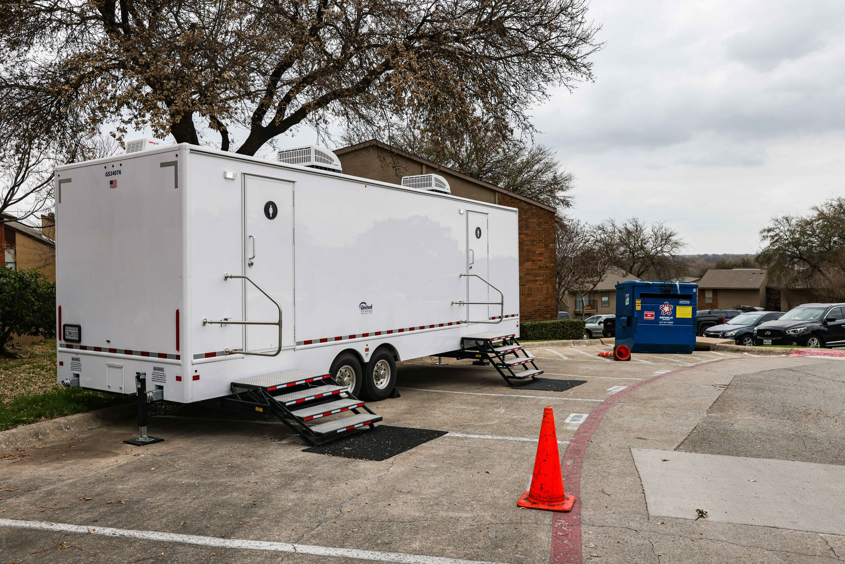 Wildflower Apts complex enabled a couple of portable showers to be used by residents in Dallas on Thursday, March 11, 2021, after many were left without electricity, water after the winter storm hit Texas in mid-February.