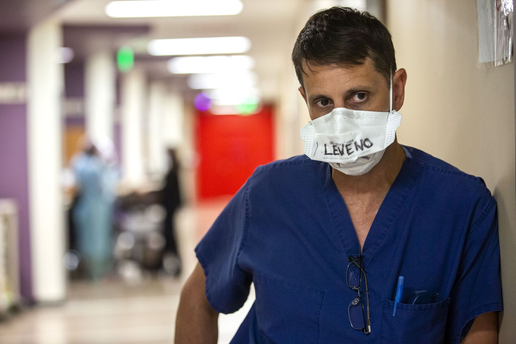 """Tactical Care Unit medical director Dr. Matt Leveno said Monday in the hallway of one of Parkland's COVID-19 wards,  """"Right now we are bumping up against our capacity ... and the hospital overall -- unlike in July -- is nearing capacity."""""""
