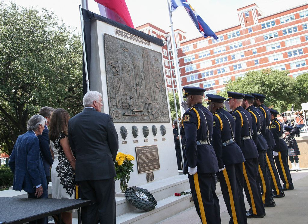 A memorial in honor of the five officers who died on July 7, 2016 is unveiled at the Jack Evans Police Headquarters in Dallas on Monday, July 8, 2019.