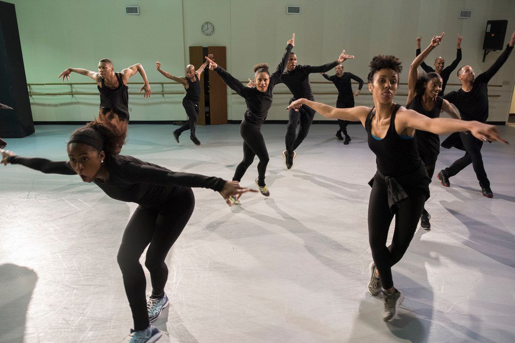 Dallas Black Dance Theatre members rehearse Displaced, Yet Rebirthed at the company's Dallas Arts District studios.