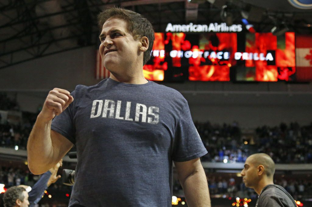 Dallas owner Mark Cuban pumps his fist as Dallas pulls away in overtime of their 111-101 win during the Portland Trail Blazers vs. the Dallas Mavericks NBA basketball game at the American Airlines Center in Dallas on Saturday, February 7, 2015.