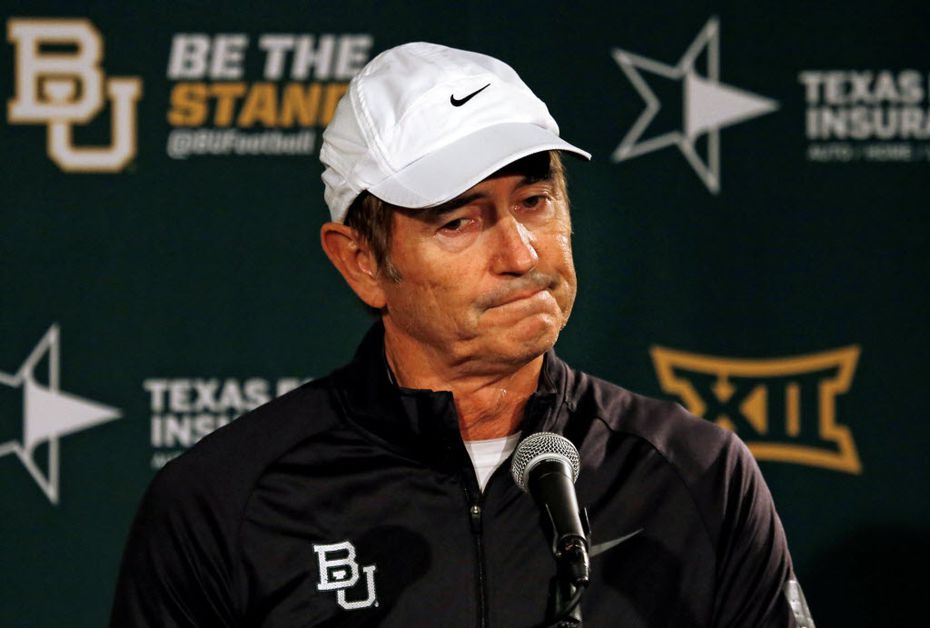 Baylor head coach Art Briles shrugs his shoulders as meets with the media on Sunday, December 7, 2014 in Waco, Texas.