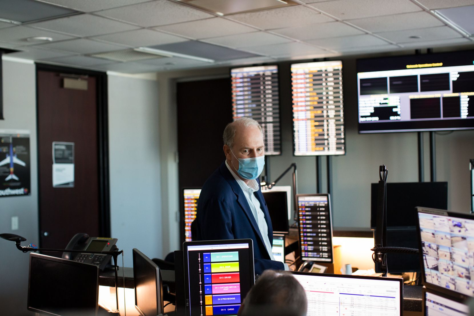 Southwest Airlines CEO Gary Kelly visited the company's operations center at Houston Hobby Airport in June.