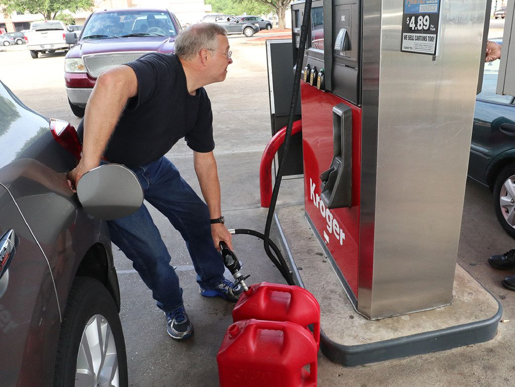 avid McWherter pumps gas at the Kroger  in Beaumont Texas, August 31, 2017. (Rick Moon/Special contributor)