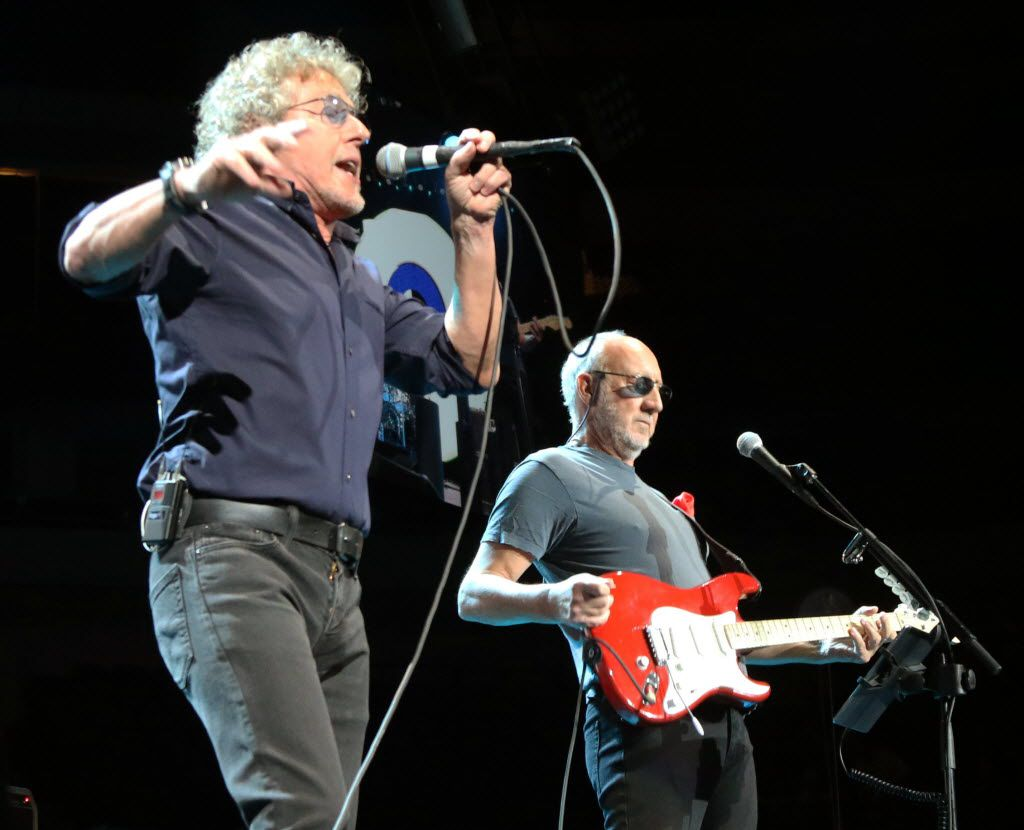 Roger Daltrey, left, lead singer of The Who, and guitarist Pete Townshend, right, perform together during a concert at the American Airlines Center on Saturday, May 2, 2015 in Dallas.