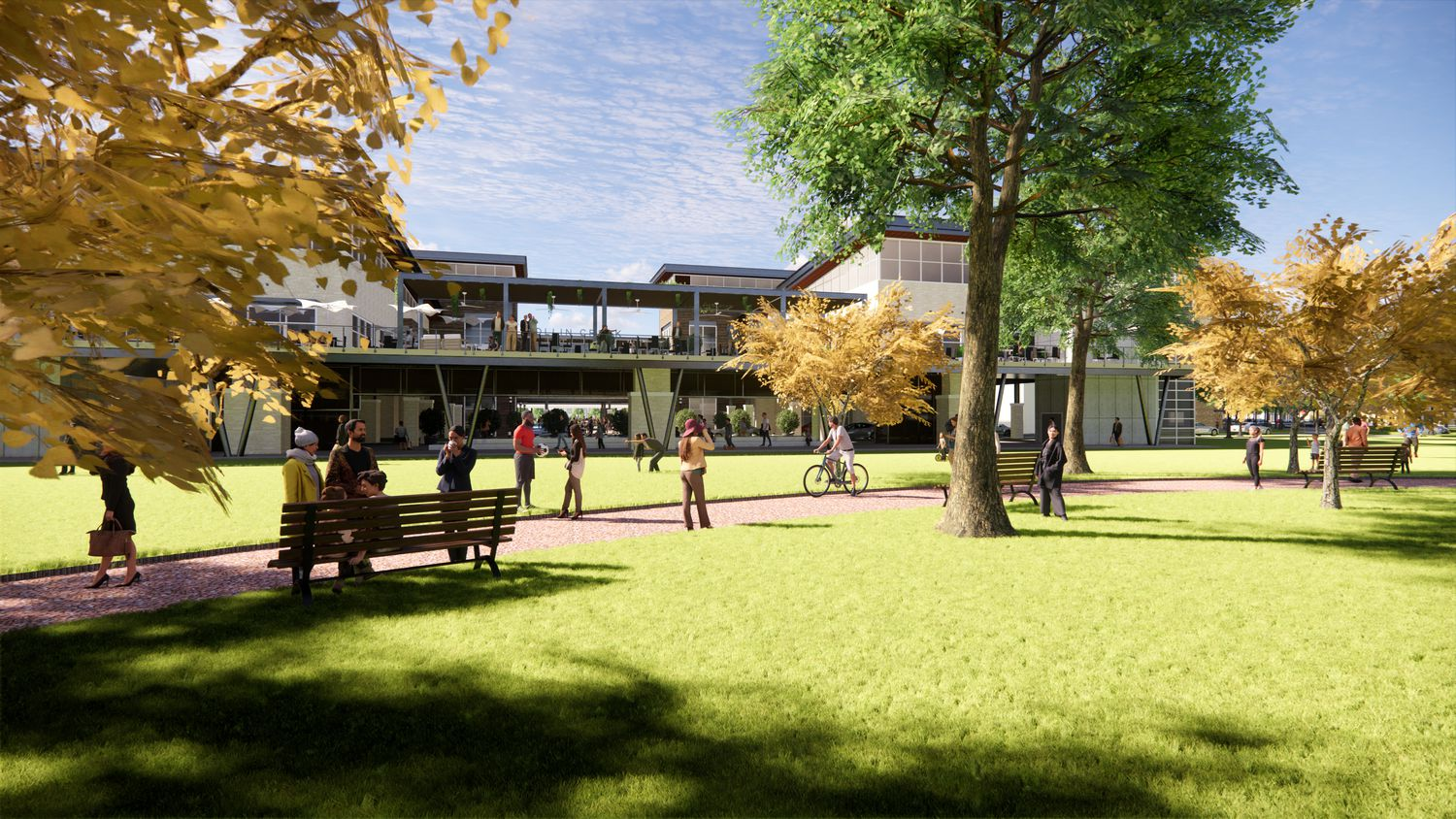 A planned restaurant terrace overlooks the park in the Collin Creek redevelpment.