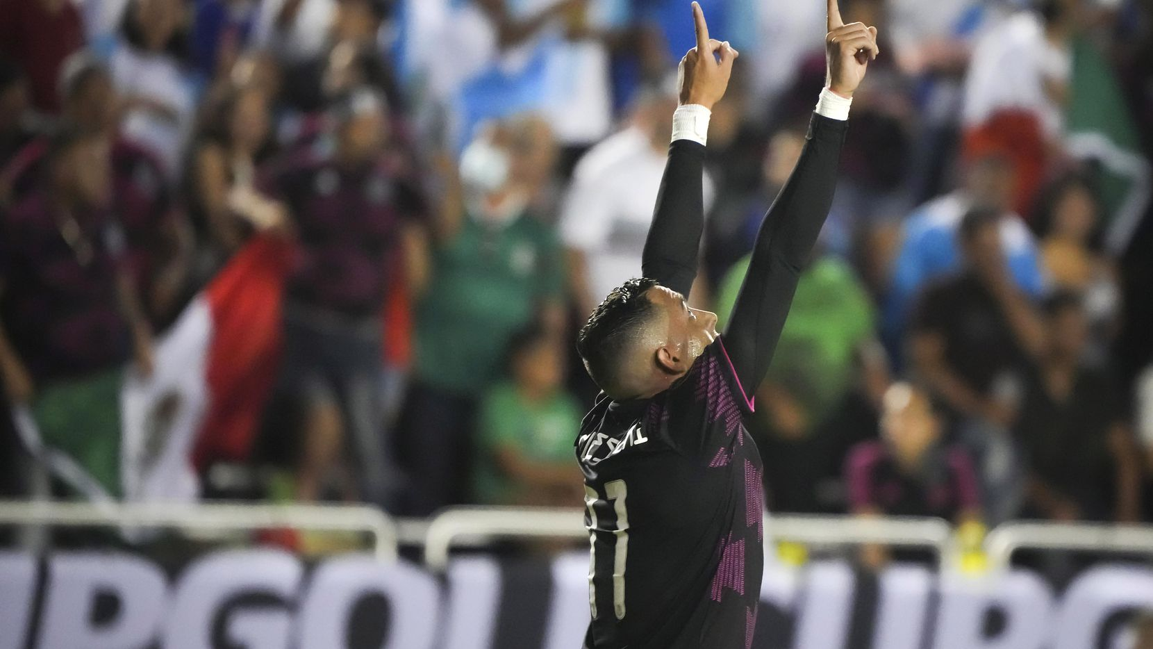 Mexico forward Rogelio Funes Mori celebrates after scoring a goal during the second half of a CONCACAF Gold Cup Group A soccer match against Guatemala at the Cotton Bowl on Wednesday, July 14, 2021, in Dallas.