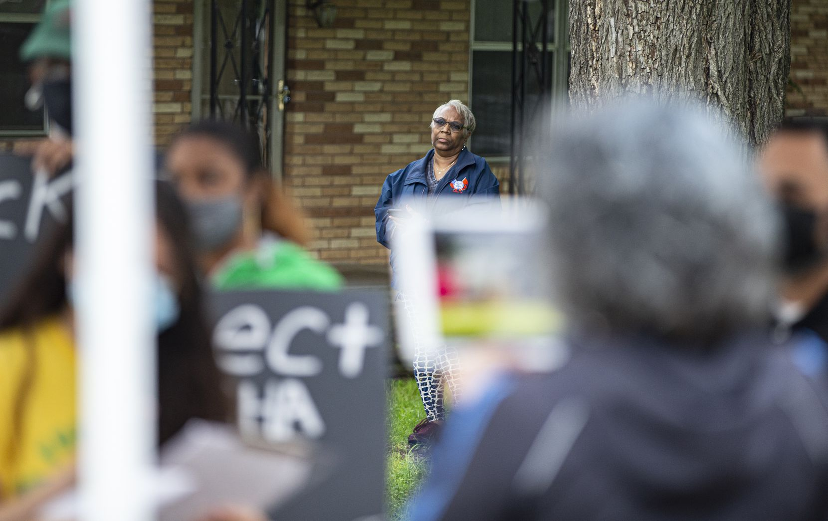 Southern Sector Rising leader Marsha Jackson looked on as community advocates provided updates on the latest industrial problems in the Floral Farms neighborhood.