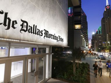 The exterior of the Dallas Morning News building on Commerce Street in downtown Dallas.
