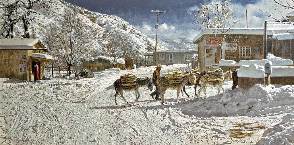 """Clark Hulings, Woodbearers of Chimayo, oil on Canvas, 30 x 60"""", New Mexico, 1974"""
