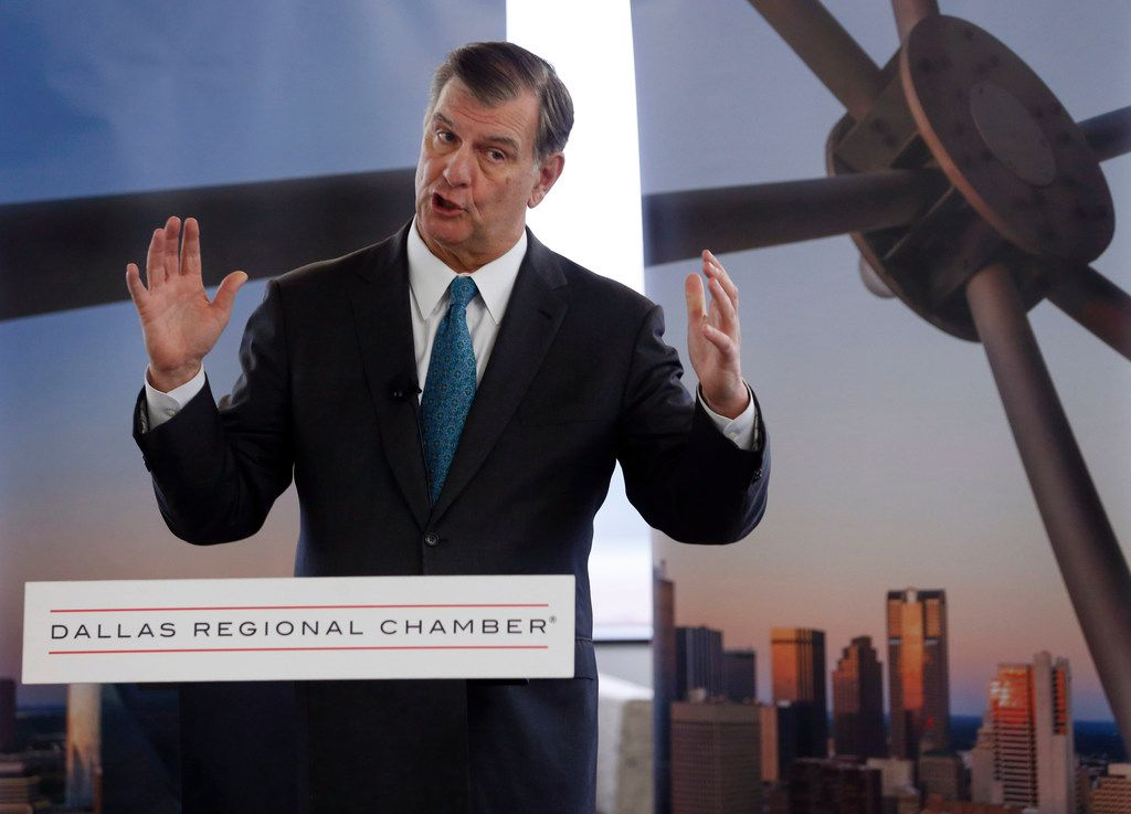 Dallas mayor Mike Rawlings spoke during a news conference about losing the Amazon bid at the Dallas Regional Chamber office in Dallas on Tuesday, November 13, 2018. (Vernon Bryant/The Dallas Morning News)