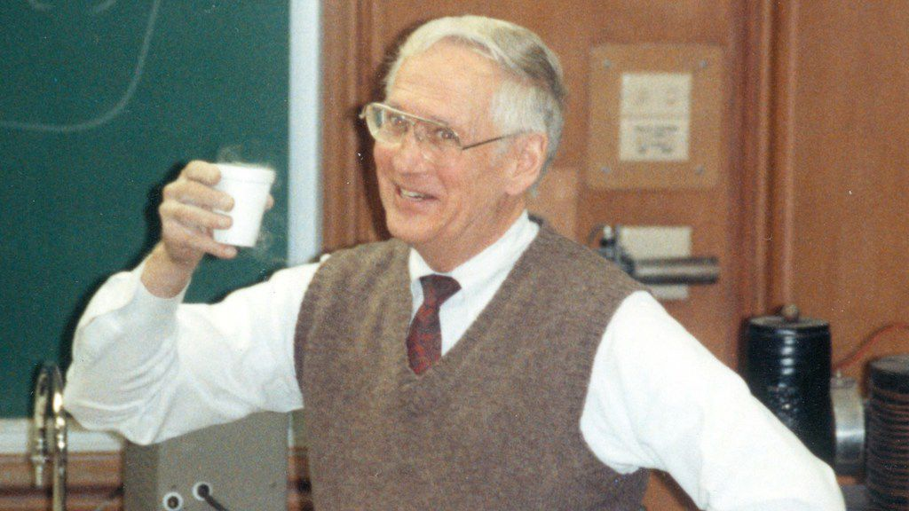 "Jeff D. Chalk III, SMU physics professor, demonstrating ""drinking"" liquid nitrogen."