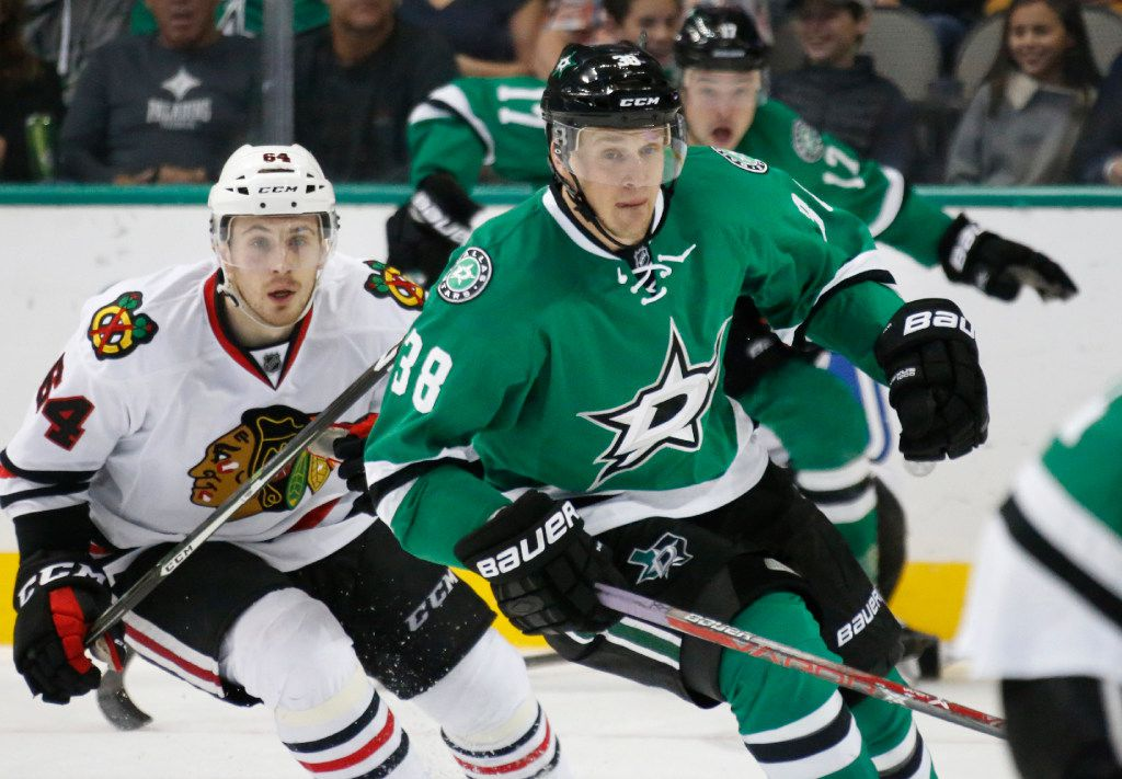 Dallas Stars left wing Lauri Korpikoski (38) is pictured during the Chicago Blackhawks vs. the Dallas Stars NHL hockey game at the American Airlines Center in Dallas on Saturday, November 5, 2016. (Louis DeLuca/The Dallas Morning News)