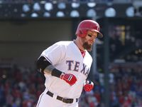 Former Texas Rangers left fielder Josh Hamilton is seen during a game against the Los Angeles Angels on Oct. 3, 2015.