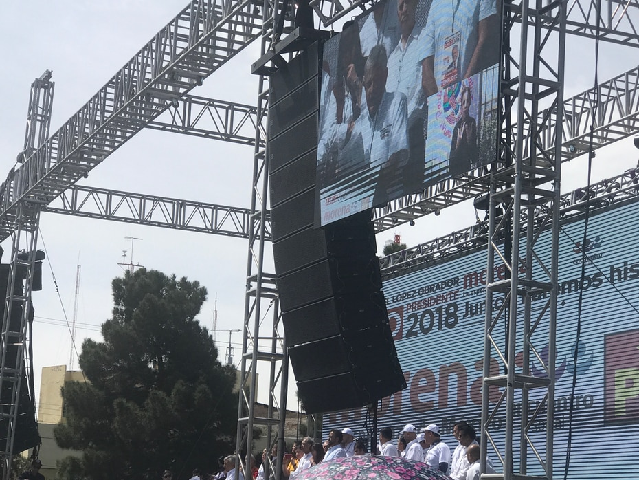 Presidential candidate Andrés Manuel López Obrador was greeted by hundreds of supporters in Ciudad Juarez.