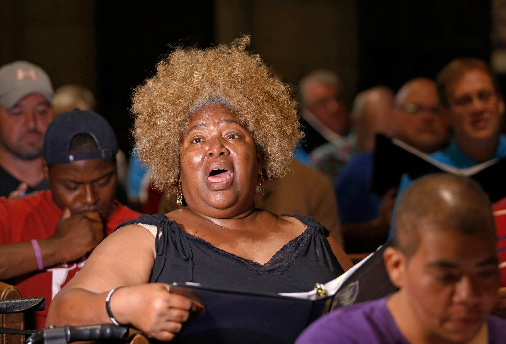 Dallas Street Choir soloist Debra Scott sings her part during a rehearsal for the group's performance at Carnegie Hall on Wednesday evening, at the Fifth Avenue Presbyterian Church in New York.