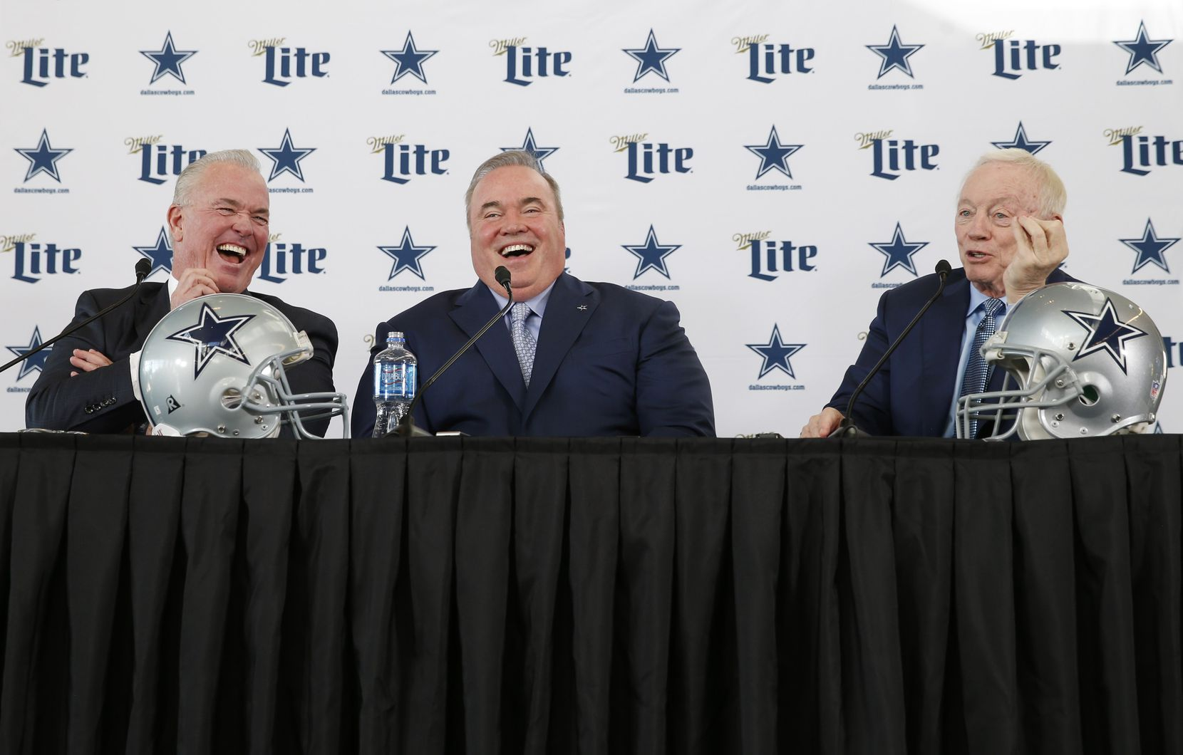 Dallas Cowboys new head coach Mike McCarthy (center) shares a laugh with Dallas Cowboys executive vice president Stephen Jones (left) and Dallas Cowboys owner and general manager Jerry Jones (right) during a press conference at The Star in Frisco, on Wednesday, January 8, 2020.