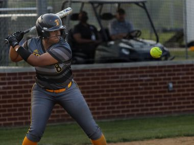 Vanessa Hollingsworth prepares to swing for the ball during a softball game between Forney at North Forney at North Forney High School in Forney, TX, on Apr. 9, 2021.