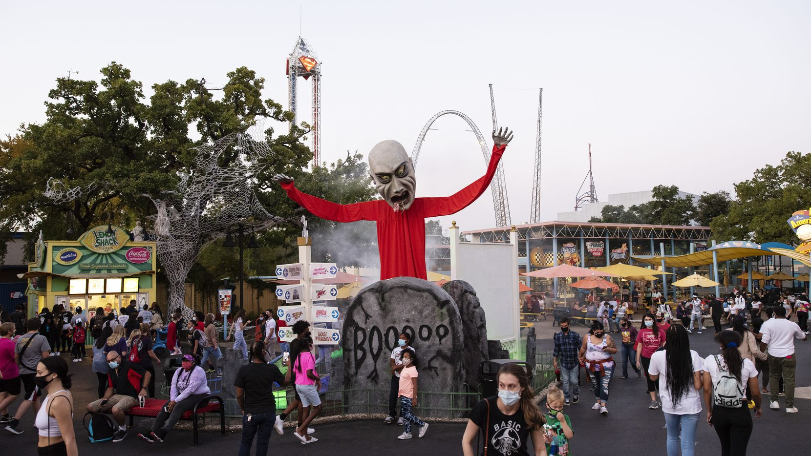 Halloween decor part of Six Flags Hallowfest in Arlington, Saturday, Oct. 03, 2020. Ben Torres/Special Contributor