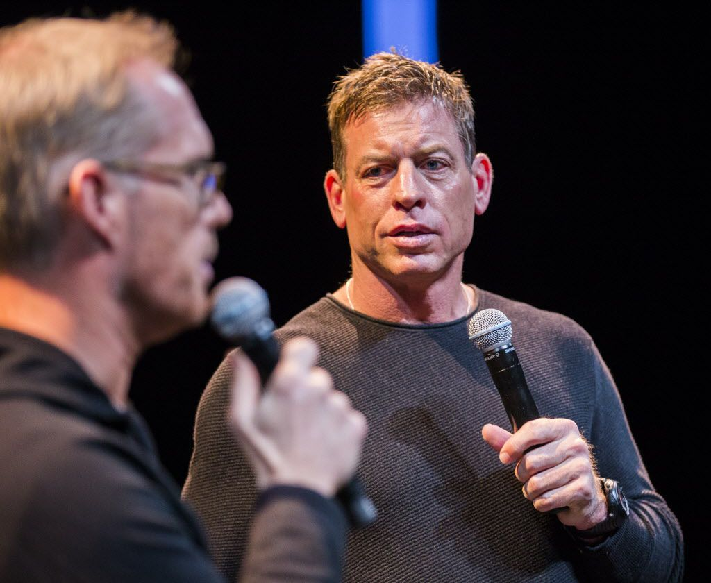 Sportscaster Joe Buck and former Dallas Cowboys quarterback Troy Aikman rehearse before hosting the 2015 Texas Medal of Arts Awards presented by the Texas Cultural Trust on Wednesday, February 25, 2015 at the Long Center in Austin, Texas.   (Ashley Landis/The Dallas Morning News)