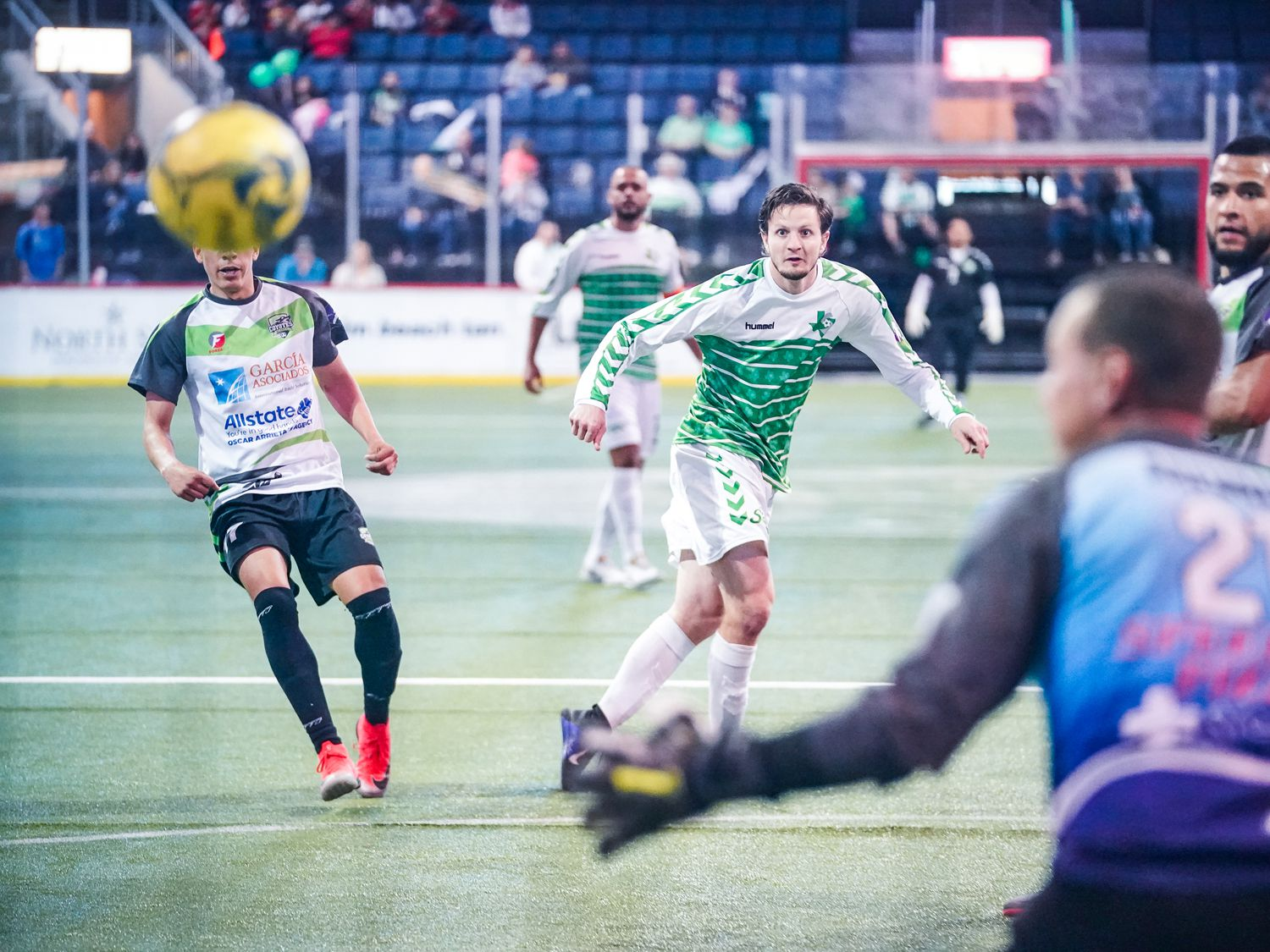 Dallas Sidekicks forward Cameron Brown watches his shot bound for glory against the El Paso Coyotes.