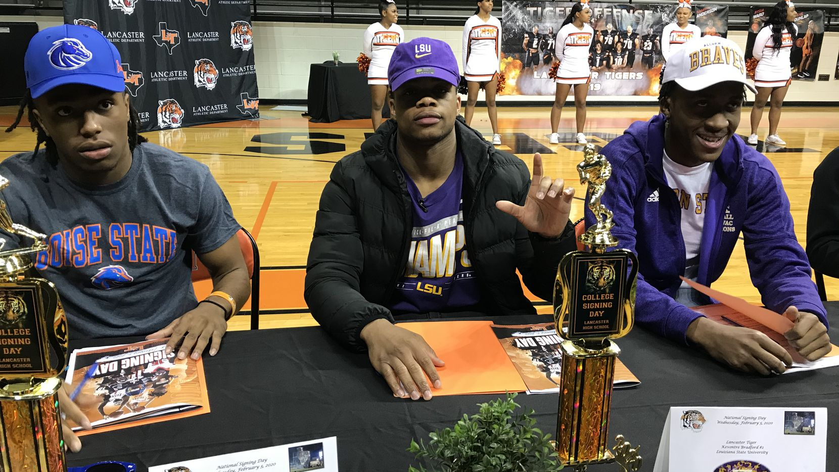 Lancaster running back Tre Bradford on Wednesday signed his national letter of intent to play football for LSU next season.
