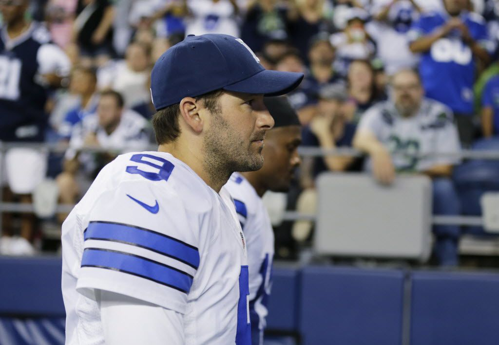 Dallas Cowboys quarterback Tony Romo walks off the field at half time of a preseason NFL football game against the Seattle Seahawks, Thursday, Aug. 25, 2016, in Seattle. (AP Photo/Stephen Brashear)