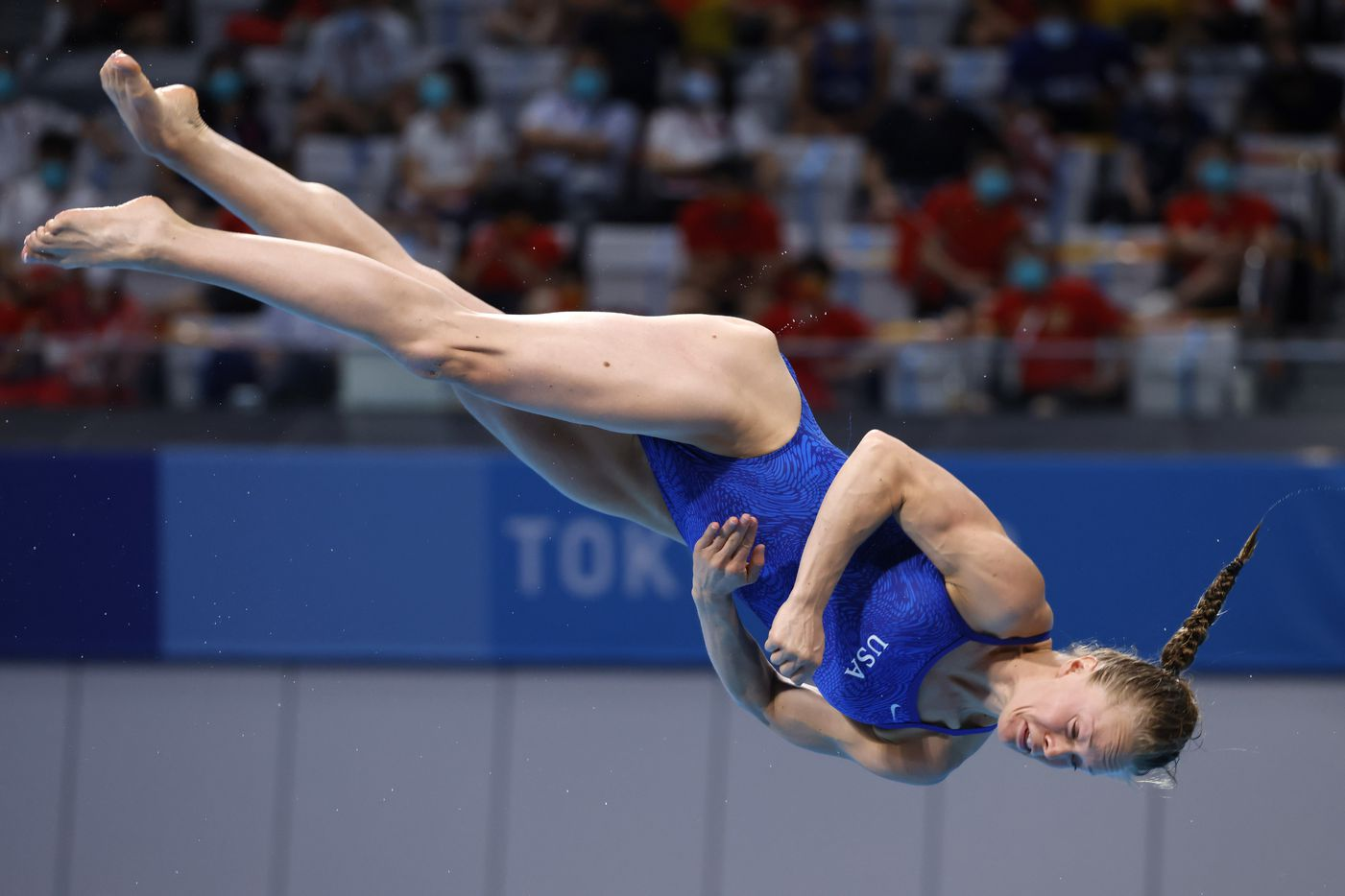 USA's Krysta Palmer dives in the women's 3 meter springboard final during the postponed 2020 Tokyo Olympics at Tokyo Aquatics Centre, on Sunday, August 1, 2021, in Tokyo, Japan. Palmer finished 3rd with a total score of 343.75 to earn a bronze medal. (Vernon Bryant/The Dallas Morning News)