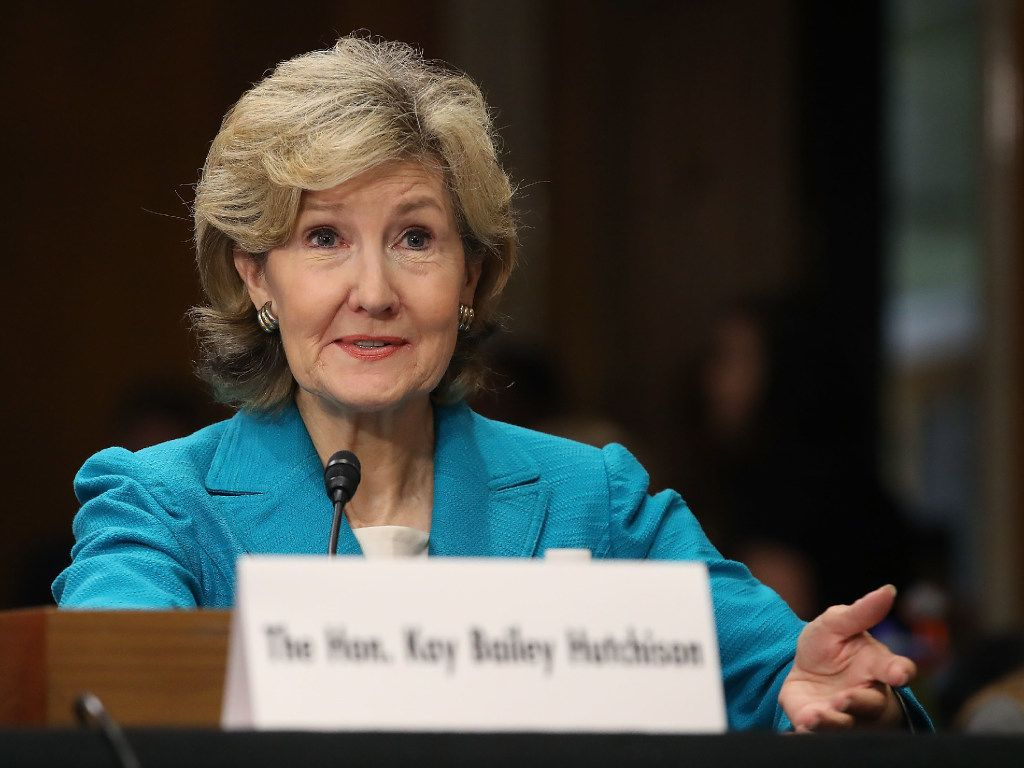 WASHINGTON, DC - JULY 20:  Former Sen. Kay Bailey Hutchison (R-TX) testifies during her confirmation hearing to be United States permanent representative on the Council of the North Atlantic Treaty Organization, during a Senate Foreign Relations Committee hearing on Capitol Hill, June 20, 2017 in Washington, DC. Hutchison previously served in the Senate for 20 years.  (Photo by Mark Wilson/Getty Images)