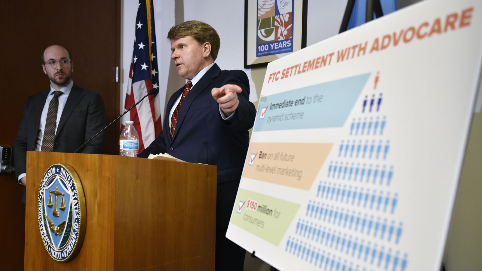 Aaron Haberman, far-left, a Federal Trade Commission attorney, and Andrew Smith, right, consumer protection bureau director for the Federal Trade Commission, speak during a press conference at the FTC regional office in Dallas, Wednesday morning Oct. 2, 2019. The FTC announced that AdvoCare, a dietary supplement company, will pay a $150 million fine for operating an illegal pyramid scheme. Ben Torres/Special Contributor