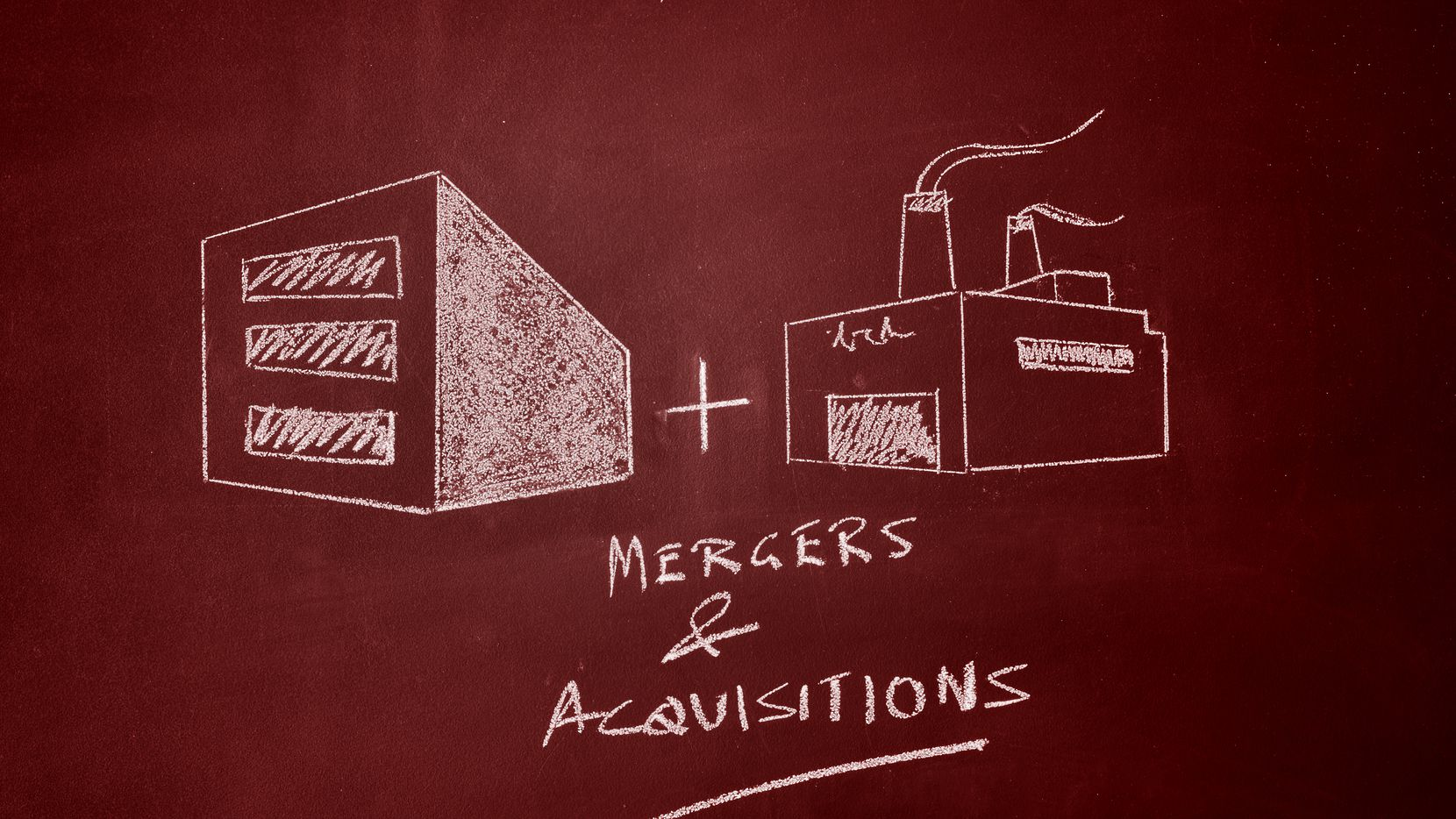 Merger concept on chalkboardOther concepts: