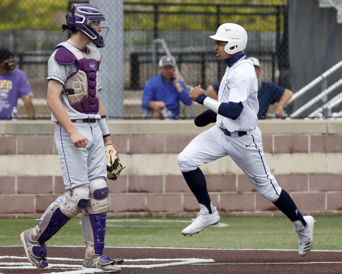 Richardson catcher Marcus Peters watches as Jesuit shortstop Jordan Lawlar scores a run during a district 7-6A game at Jesuit College Preparatory in Dallas, Saturday, April 24, 2021. (Elias Valverde II / Special Contributor)
