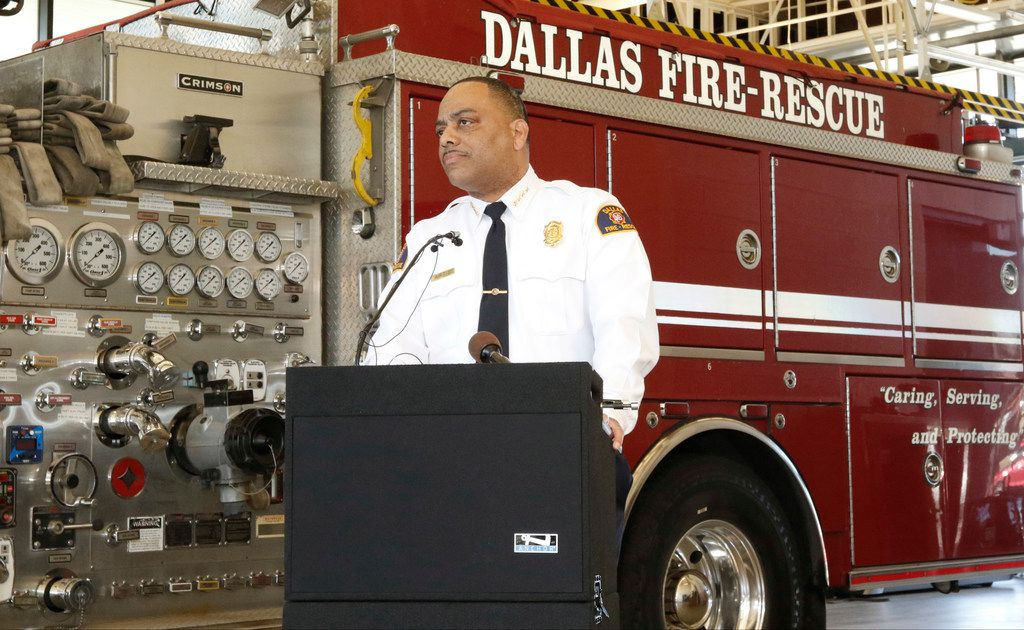 Dallas Fire-Rescue Chief Dominique Artis speaks to the news media after being named chief.