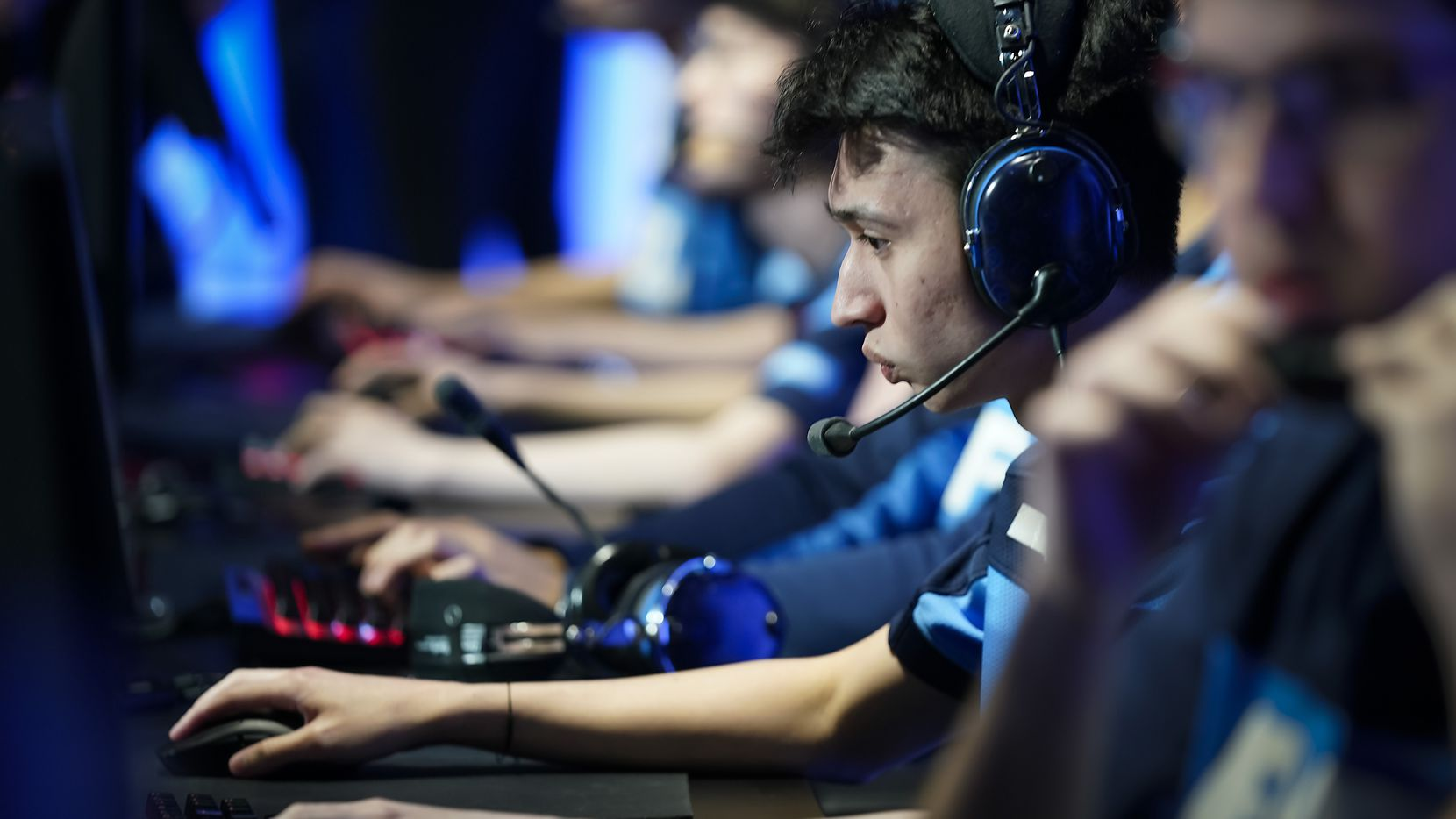 "Ash ""Trill"" Powell of the Dallas Fuel prepares for the start of a Overwatch League match against the Los Angeles Valiant at the Arlington Esports Stadium in Arlington in February. Grapevine will create an ""eSports Academy"" that will allow any resident to participate in eSports regardless of access to equipment or an internet connection."